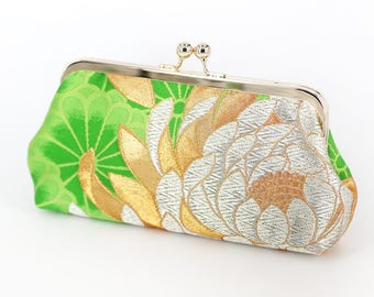 Vintage Japanese Obi Clutch Purse | Gold Chrysanthemum on Green Silk