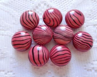 9  Dark Rose Pink & Black Striped Round Puffed Acrylic Beads  18mm x 12mm