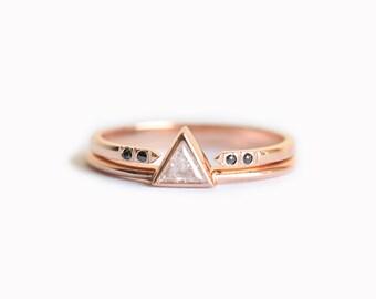 Trillion Wedding Set, Diamond Set, Unique Wedding Ring Set, Black Diamond Set, Black Diamond Ring, Trillion Diamond Ring, Diamond Ring Set