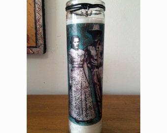 Prayer Candle / Novema Candle /Religious Candle / Working Couple Folk Art Candle