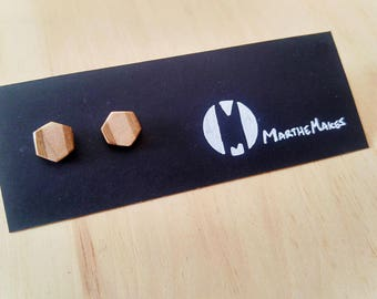 Hexagon Maple & Oak Earring Stud Design