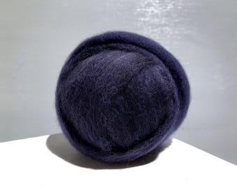 Dark Blue wool roving, Needle Wet Felting wool, Spinning Fiber, Midnight Blue, Navy Blue, Deep, Dark Blue roving