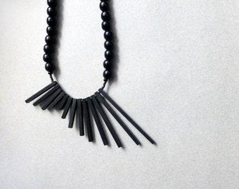 black geometric necklace , minimalist tribal contemporary jewelry