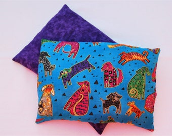 Corn Bag Microwavable Heating Pad Hot Pack Cold Pack Therapeutic Wrap Laurel Burch Doggies Turquoise
