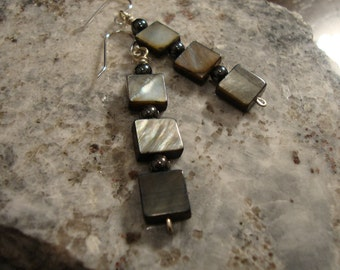 Charcoal grey shell cube earrings
