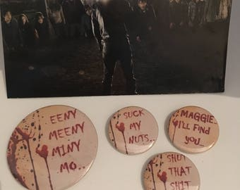 NEGAN - Set of four The Walking Dead inspired pin badges, button badges, brooches. Lucille