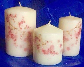 Set of 3 Spring Blossom Candles, Home Decor, pillar candle, gift, decorative candle,set of Pillar Candle, Decorative Candles