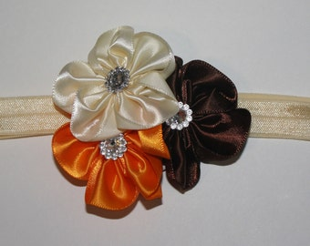 Thanksgiving Inspired Basic Boutique Flower Headband (13.5 inches Normally Fits NB-6M)