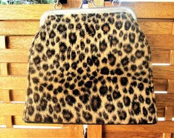 Leopard Spot Evening Bag Top Handle Kiss Lock Animal Print Fashion Accessory Vintage Gift