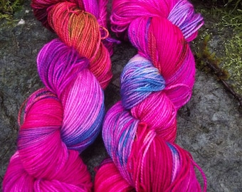 Handpainted sock yarn, fingering yarn, Superwash Merino  Nylon, 100 grams-La Cenerentola