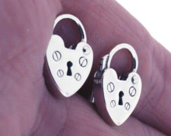 Heart Padlock Earrings Sterling Silver Earrings-Stud-post style- Vintage Heart Padlocks in Sterling