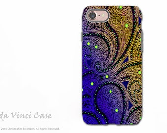 Purple Paisley - iPhone 7 - iPhone 8 Tough Case - Dual Layer Protection Artistic iPhone Case - Midnight Astral Paisley
