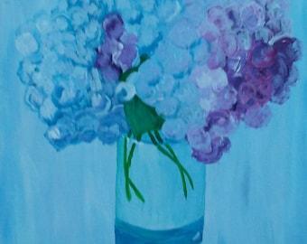 Hydrangea acrylic original painting canvas