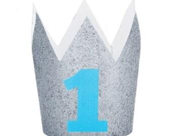 """Baby Boy """"1"""" Glitter Crown"""