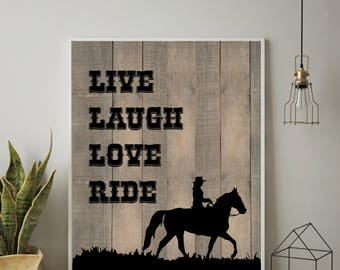 Western Decor, Western Art Print, Country Western Gift, Cowgirl Gift, Rustic Decor, Wall Art, Horse, Equine, Cowgirl Western Gift