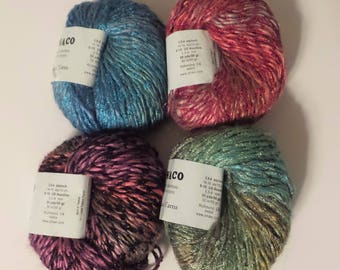 Crystal Palace MONACO Worsted to Bulky Silky Bamboo Vegan Yarn in Blue Skies, Campfire, Bouquet, Lake Tahoe