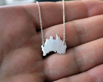 Australia Necklace-Australia Pendant-Australia Continent Silver Necklace-Australia Sterling Necklace-Australia Jewelry-Valentines Day Gift