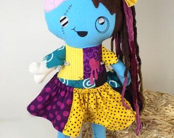 Handmade Zombie Doll - Zombie Girl - Custom Zombie Doll - Halloween Doll - Dead Girl - Soft Toy - Goth Doll - Punk Doll - Halloween Decor