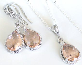 Light Peach Crystal Teardrops in Silver on French Earrings with a Matching Silver-Filled Necklace, Earring and Necklace Jewelry Set