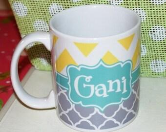 Personalized coffee cup, personalized coffee mug, chevron coffee mug, quatrefoil coffee mug, monogrammed mug, monogrammed cup