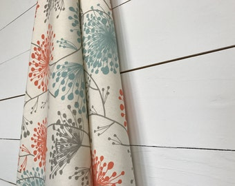 Off White with beautiful Irish winter spring flower detail, Sale Curtains, Window Treatments/ Curtains