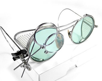 Steampunk Goggles Antique WILLSON AQUA Tinted Lenses, Aviator Goggles, Perforated Side Shields 2 Loupes  Burning Man - Goggles by edmdesigns