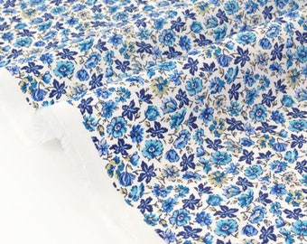 Fabric Japanese blue floral silky cotton lawn x 50cm