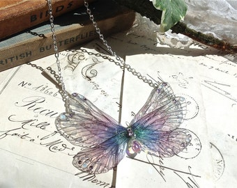 Pretty purple rainbow Faerie wings small Necklace