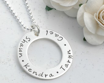 Personalized Hand Stamped Necklace - Washer style - Eternity Circle