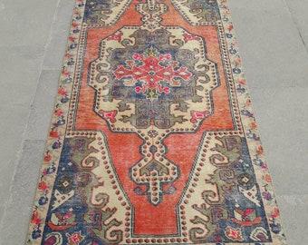 """Oushak Rug Vintage Rug Turkish Rug Vintage Turkish Rug Area Rug Handmade Wool Rug Vintage Anatolian Carpet 4' x 7'6"""" Feet Free Shipping !"""