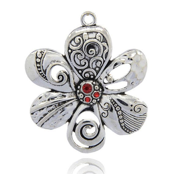 Large flower 56 mm antiqued - silver Light Siam x 1 pendant