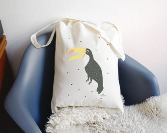 "Tote bag ""TOUCAN"" 100% cotton - cotton bag with toucan - shopping bag"