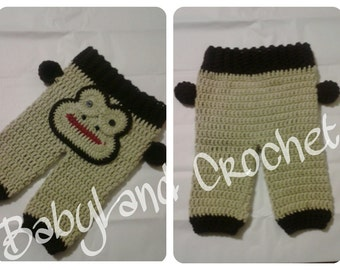 Crochet Monkey Pants, Newborn Photo Prop Monkey Pants