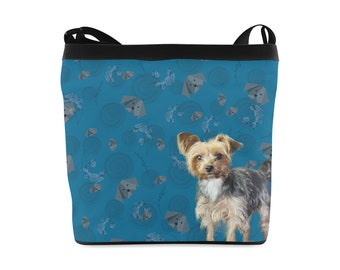 Yorkie and origami pups cross body sling bag canvas zip fastening inside pocket, dog pattern bag teacup pup
