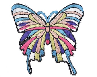 x 1 wide-badge-patch applique embroidered Butterfly motif multicolored sewing 12.5 x 11.5 cm