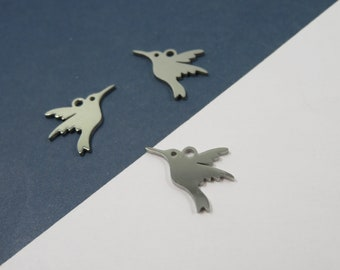 SET of 3 charm medal pendant Hummingbird bird / coliibri lovers silver stainless steel (W86)