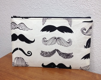 Mustache Make Up Bag /  Pouch / Mustache / Travel case / Cosmetic Bag / Fun Gift Idea