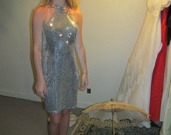 Reduced Price!  Vintage Karen Okada for David Howard - Climax - Go-G0 Dress With Peace Sign on Back - Sequins!