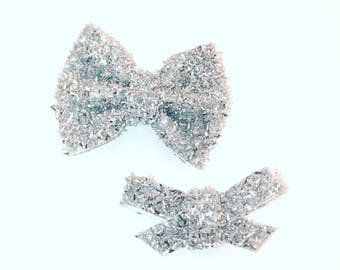 Silver tinsel brooke or madison bows, on clip or headband