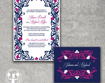 Deco Garden Navy Fuschia Wedding Invitation