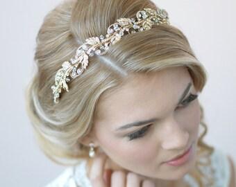Gold Bridal Headband, Floral Wedding Headband, Gold Wedding Headpiece, Gold Leaf Headband, Bride Headband, Headband for Wedding ~TI-3255