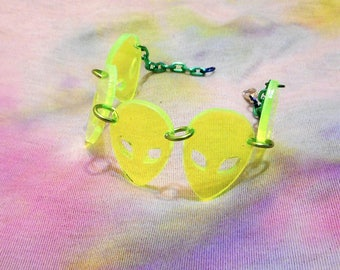 Neon ALIEN ARRAY Acrylic Connector Bracelet with Adjustable Green Chain