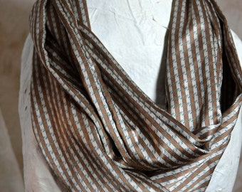 Brown Infinity Scarf  60 inches circumerence by 9 1/2 inches Classy and Stylish Soft and Silky