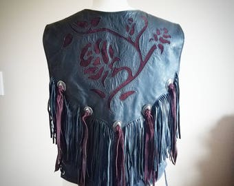 Western Black Leather and Merlot Suede Fringe Floral Biker Vest