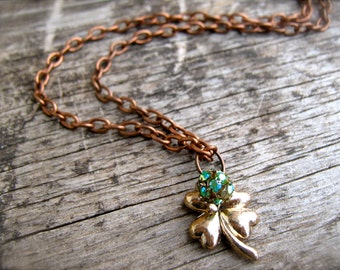 Necklace Clover Lucky Charm Shamrock Necklace. Good Luck Jewelry. Copper Chain Green Rhinestone Four Leaf Clover Charm Necklace.