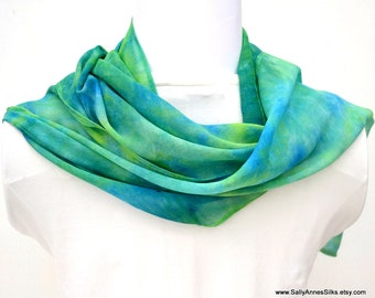 Hand dyed Silk Scarf, Silk Chiffon Scarf, 68 x 10 inches, Ready to Ship, Gift for Her, Made in Australia, SallyAnnesSilks on Etsy S186