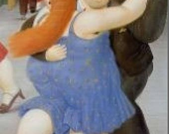 1 CROSS stitch, PATRON DANCERS of tango. Botero Azul. Famous cross stitch pictures