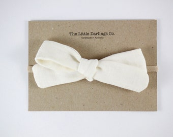 Hand Tied Hair Bow 100% Linen Large Schoolgirl in Cream // Clip or Band