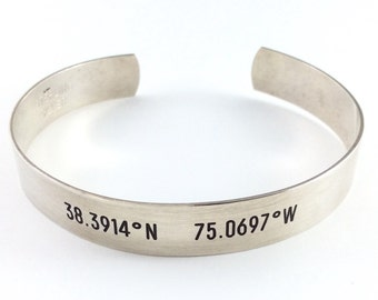 GPS Coordinates Cuff, Sterling Silver, Copper, Latitude Longitude Jewelry, Locations Jewelry