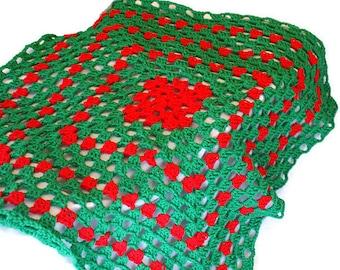 Baby Blanket, Crochet Baby Afghan, Red Blanket, Christmas Afghan, Christmas Blanket, Granny Baby Blanket, Green Afghan, Granny Square
